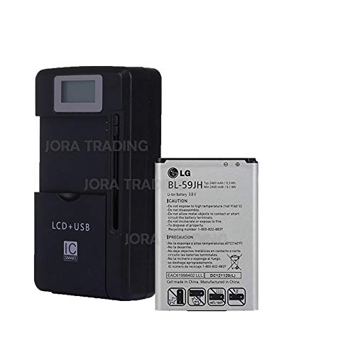 OEM Battery BL-59JH for LG Optimus F3 P659 w/Universal LCD Battery Charger + USB-Port (Adjustable Dock) in Non-Retail Packaging