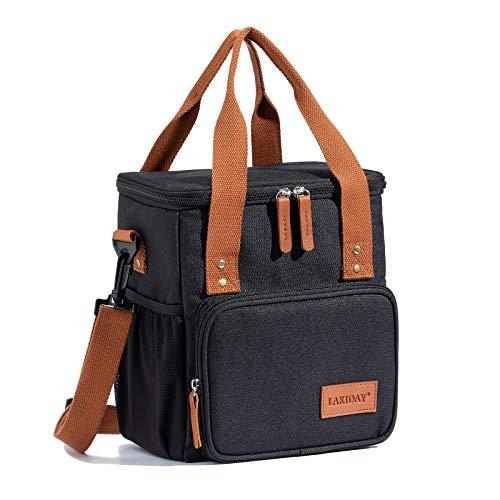 LAKIDAY Lunch Tasche Damen Herren Kinder Thermotasche Wiederverwendbare Lunchtasche für Arbeit, Picknick, Wandern, Ausflügen, Angeln(9L;Schwarz-2)