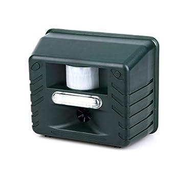 GXLO Dissuasion Solaire à ultrasons pour Animaux, Dissuasion d'animaux Sauvages et de ravageurs avec télécommande,Green,Americanplug