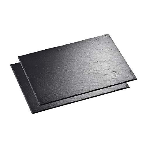 MALACASA, Serie Nature.Slate, 2-teilig Set Schieferplatte Käseplatte 16 Zoll 40 x 30 x 0,5 cm Schiefer Servierplatte Buffetplatte
