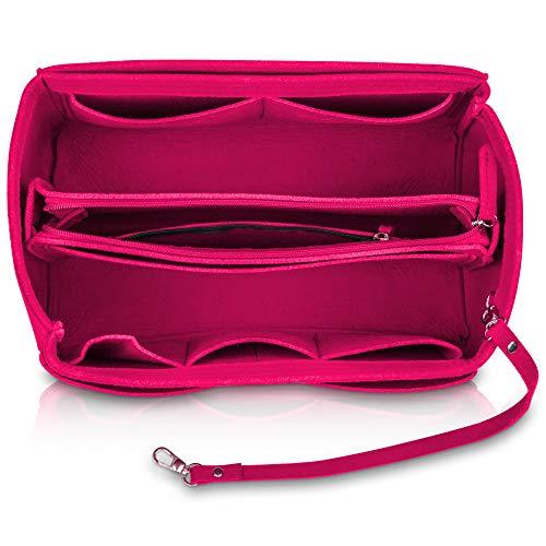 umatter ® Handtaschen Organizer aus Filz mit Schlüsselanhänger und Sicherheitsfach - Ideal als Taschenorganizer baginbag der Handtasche, Bag Organizer (Fuchsia, L)