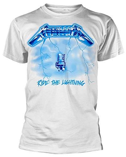 Metallica Unisex 'Ride The Lightning' White T-shirt, S, M, L