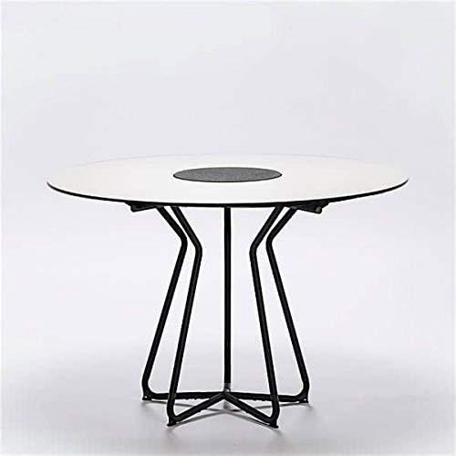 mds Table Ronde Circle, Bambou et Granit, Aluminium thermolaqué, Outdoor - Ø 110 cm, HPL Blanc (laminé Haute Pression) et Granit au Centre