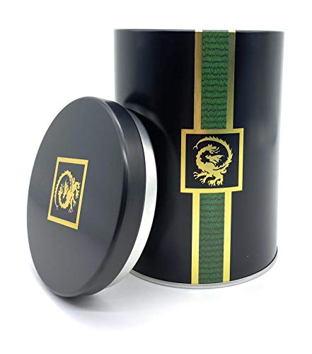 Perfekto24 Teedose für losen Tee 250g – Vorratsdose für Tee in Schwarz (Dragon Design) – Tee Aufbewahrung mit Aromadeckel - aromadicht/luftdicht – Blechdose rund - BPA frei