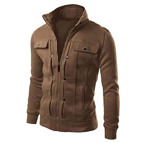 Herren Jacke Herren Fashion Slim Designed Rever Bequeme Größen Cardigan Coat Jacket Oberbekleidung Mantelouterwear Jacken Kleidung (Color : Weiß, Size : M)