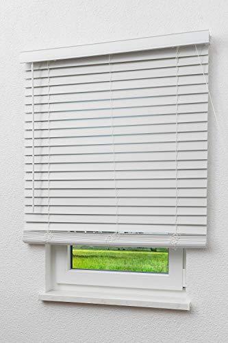 LYSEL Outlet Jalousie Wood-Optik 50mm Reinweiß Breite: 100cm Höhe: 160cm Tiefe: 6cm