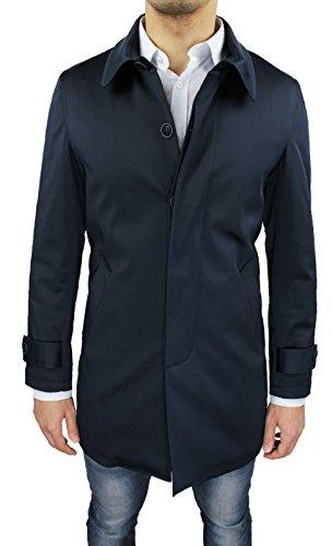 Cappotto Soprabito Uomo Blu Scuro Sartoriale Slim Fit Giaccone Invernale Casual Elegante Taglia S M L XL XXL 3XL (XXL, Blu Scuro)