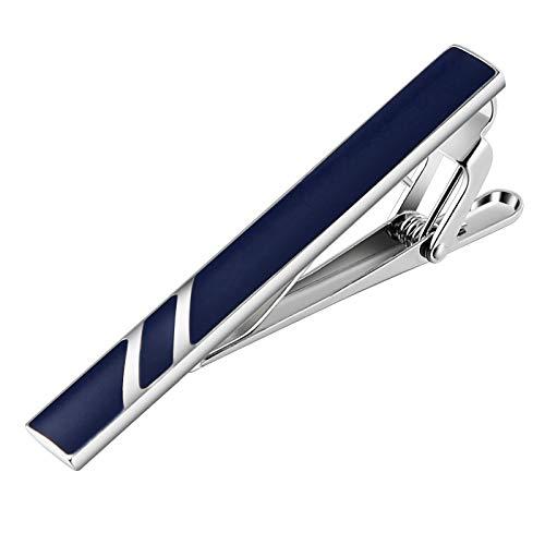 Bishilin Edelstahl Herren Krawattenklammer Hochzeit Blau Reckteck Silber Krawattennadel für Männer Arbeitsplatz