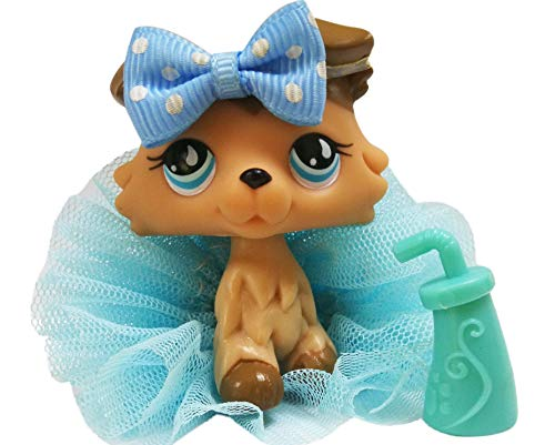 Toy Rare LPS Collie 893 Tan Brown Blue Eyes Dog Puppy with Accessories Lot Collection Figure Boys Girls Kids Gift (Tan Brown)