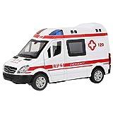 SALALIS Modelo Fundido a presión, función de Fuerza de Retorno Modelo de Ambulancia de Rescate Toque cómodo 1:36 emulado con Luces LED para niño para niños