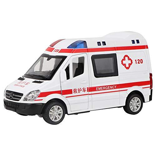 Tnfeeon 1:36 Rettungswagen Modell Spielzeug Notfall Fahrzeug Spielzeug Diecast Alloy Modell Mit Zurückziehen Sound Licht für Kinder Spielzeug