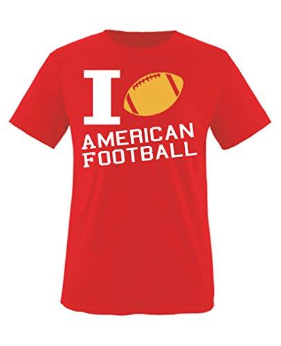Comedy Shirts - I Love American Football - Mädchen T-Shirt - Rot/Weiss-Gelb Gr. 152/164