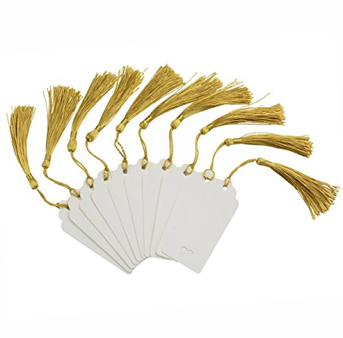 Makhry 100 Pcs Imported Rectangle Kraft Paper Bookmarks Gift Tags Wedding Favor Bonbonniere Favor Thank You Gift Tags with 100 pcs Tassels (White&Light Gold)
