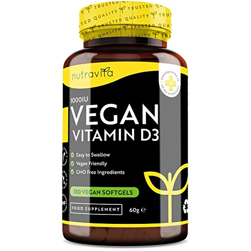 Vegan Vitamin D 1000iu (25ug) - Plant-Based Vitamin D Softgel Capsules Derived from Lichen - Maintenance of Healthy Immune System, Muscles, Bones & Teeth - 180 Softgels - Made in The UK by Nutravita