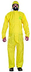Ansell AlphaTec 2300 PLUS Overall with hood Chemical protection suit for industrial, biological and home improvement area, yellow, size XXL (1 piece)