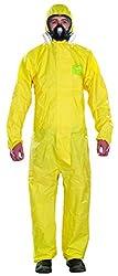 Ansell AlphaTec 2300 PLUS Overall mit Kapuze Chemikalienschutzanzug für Industriell-, Biologisch- und Heimwerker-bereich, Gelb, Größe XXL (1 Stück)