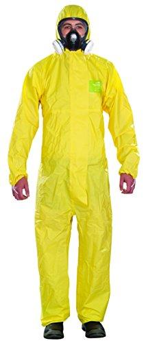 Ansell AlphaTec 2300 PLUS Overall mit Kapuze Chemikalienschutzanzug für Industriell-, Biologisch- und Heimwerker-bereich, Gelb, Größe L (1 Stück)