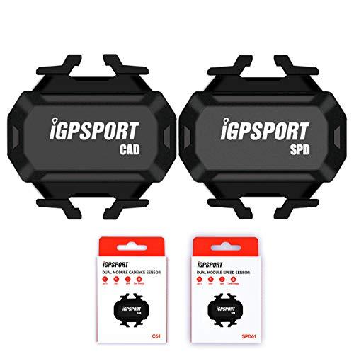 iGPSPORT Bike Computer C61 Sensor de cadencia y SPD61 Sensor de velocidad para ciclismo, compatible con ANT+ Bluetooth Wireless Spin Bike Sensor Bundle