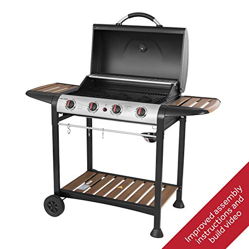 George Foreman Gas BBQ, Black with wood effect shelves