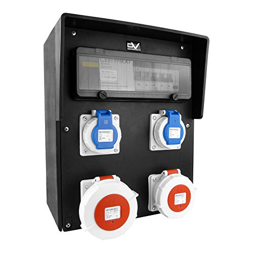 Baustromverteiler Vollgummi-Verteiler HD-S/FI 32A/5P 16A/5P 2x230V IP67 Stromverteiler Doktorvolt® 9559
