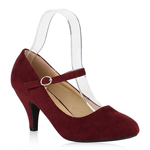 Klassische Damen Pumps Spitze High Heels Basic Stiletto Riemchenpumps Kroko Print Schuhe 137187 Dunkelrot Schnalle 41 Flandell