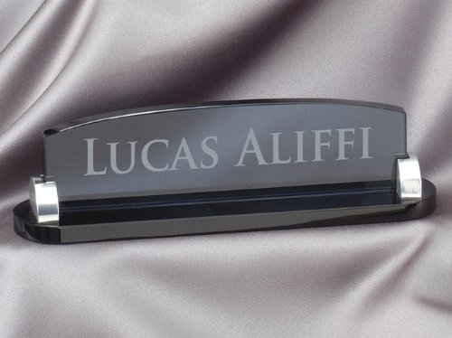 Smoked Glass Name Plate with Free Engraving