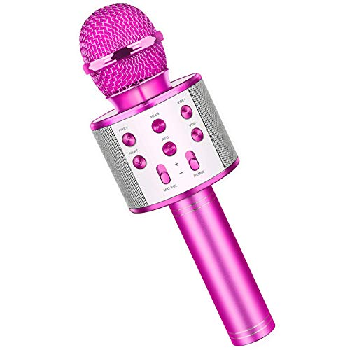 Fun Boys Toys Age 3-12, Wireless Bluetooth Karaoke Microphone for Kids Portable Handheld Mic for Girls Age 5-12 Purple