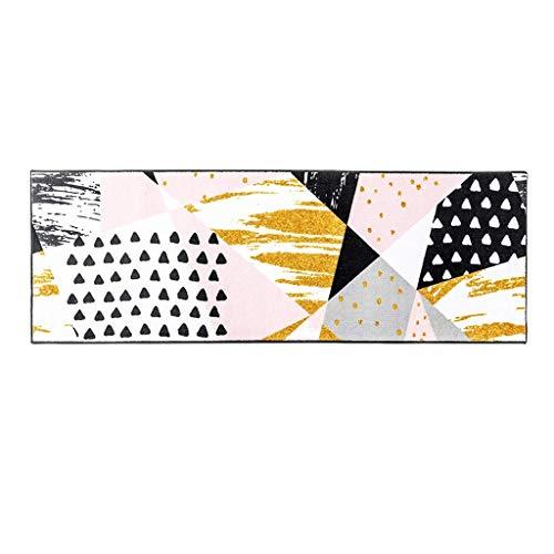 QFF Woonkamer Deurmat Decoratie, Badmatten Roze Tapijt Verschillende Tapijten Kleurblok Tapijt Driehoek Tapijt Kleurrijke Tapijt Korte Paal Tatami Niet-slip Duurzaam Binnen 50×150cm roze