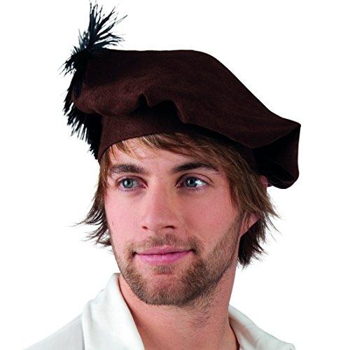 Amakando Baskenmütze - 59 cm - Mittelalter Kopfbedeckung Mütze Edelmann mittelalterliche Haube LARP Kostüm Zubehör Mittelalter Kopfbedeckung