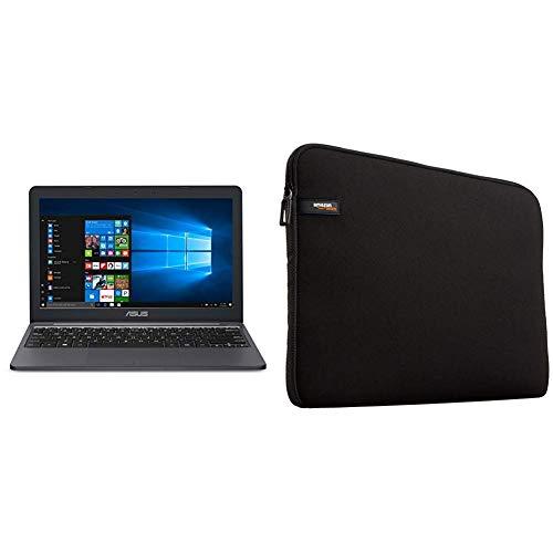 ASUS VivoBook L203MA Ultra-Thin Laptop, Intel Celeron N4000 Processor, 4GB RAM, 64GB eMMC Storage, 11.6†HD & AmazonBasics 11.6-Inch Laptop MacBook Sleeve Case - Black