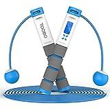 TOQIBO Cuerda para Saltar, Velocidad Cuerda de Salto con Contador y Medidor de Calorías, Longitud Ajustable 2 Formas de Entrenamiento Fitness en Casa, Oficina o Gimna