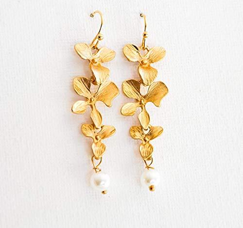 Orchidee Flowers Ohrringe - Hänge Ohrringe mit Perlen - Goldfarben/Silberfarben - Braut - Festlich - Blumen - Wasserfall Ohrringe