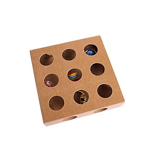 MagiDeal Intellighent Katzenspielzeug Quadratische Holz Box Mit 17 Löchern für Katzen Kätzchen Interaktives Spielzeug