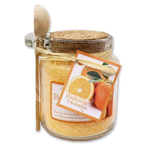 Florex Sel de bain orange avec lait de mouton dans un verre décoratif avec cuillère en bois 300 g
