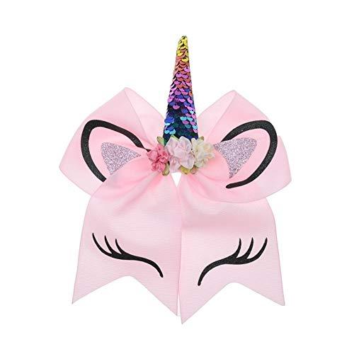 1 Pieza de Flor Pringting 7 `` Cintas for el Pelo con Lazo de Cinta Grande Accesorios for sostenedores de Pelo de Ponis elásticos for niñas Cintas para el Pelo (Color : Pink)