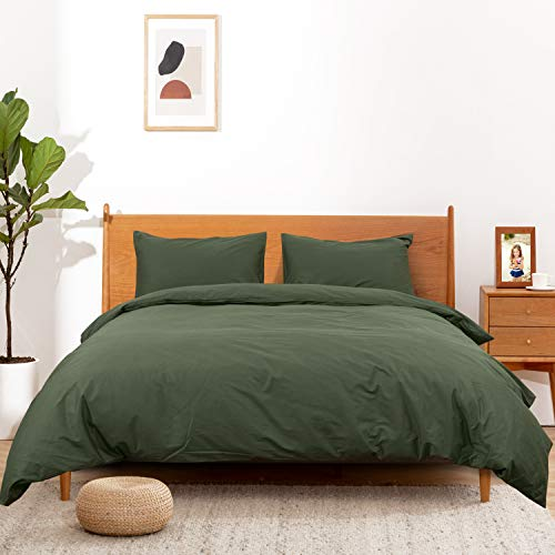 ATsense Duvet Covers King Size, 100% Cotton, Green Duvet Cover Bedding Set, 3-Piece, Ultra Soft and Easy Care, Simple Style Farmhouse Comforter Cover Set