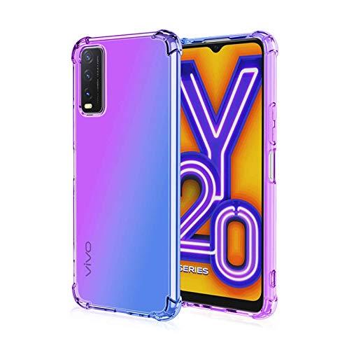 LEYAN Hülle für Vivo Y20S / Vivo Y11S, Schutzhülle TPU Silikon Handyhülle mit Farbverlauf Design, Transparent Stoßfest Bumper Hülle Soft Flex Cover, Lila/Blau