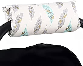 Turquoise and Grey Feathers Car Seat and Baby Carrier Cushion by The Peanut Shell