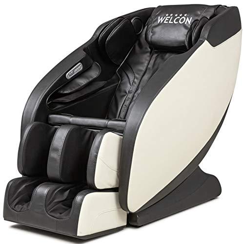 Massagesessel WELCON Prestige II in schwarz/weiß mit Rückenmassage, Fußreflexzonenmassage, Armmassage und Heizung, Massagestuhl