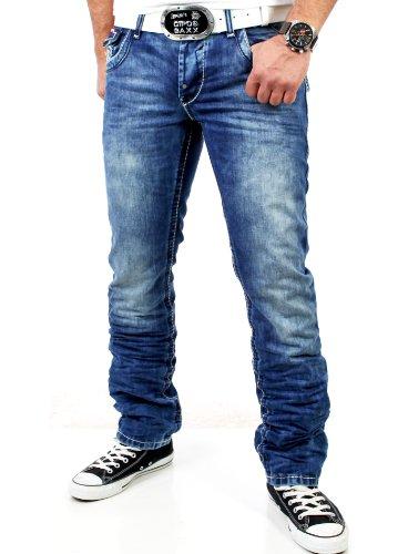 R-Neal Herren Kontrast Naht Used Look Jeans Hose RN-7584 Blau W31-L32