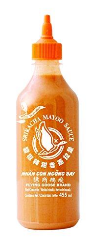 FLYING GOOSE Sriracha Mayoo Sauce - Mayonnaise, leicht scharf, orange Kappe, Würzsauce aus Thailand, 2er Pack (2 x 455 ml)