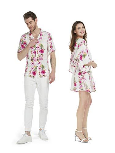 Couple Matching Hawaiian Luau Aloha Shirt Poncho Dress in Pink Hibiscus Vine L