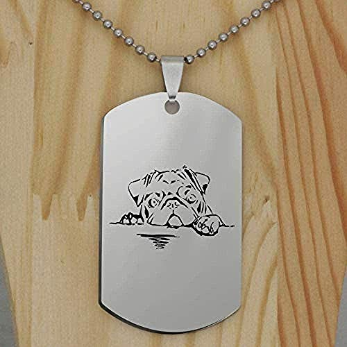 ZPPYMXGZ Co.,ltd Necklace Fashion Stainless Steel Pug Dog Pendant Necklace Creative Dog Animal Cute Puppy Jewelry