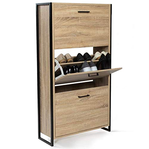 IDMarket - Meuble à chaussures LUIS 3 portes design industriel