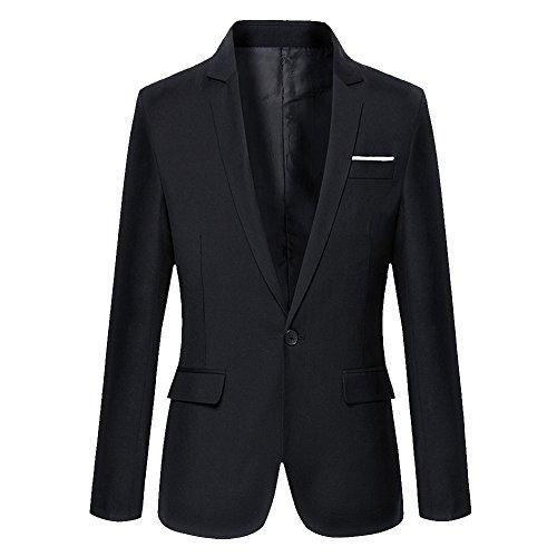 DAVID.ANN Men's Slim Fit One Button Casual Blazer Jacket,Black,X-Large