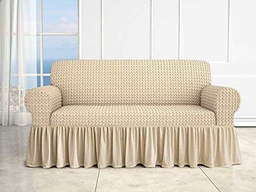 Funda de sofá universal Voilà Irge 2, 3 y 4 plazas elástica con volante falda, color pardo, 2 plazas