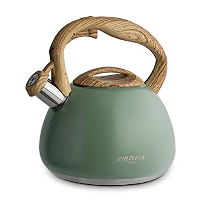 Poliviar Tea Kettle, 2.7 Quart Seaweed Green Finish with Wood Pattern Handle Loud Whistle Food Grade Stainless Steel Teapot, Anti-Hot Handle and Anti-Rust, Suitable for All Heat Sources (JX2020-SB30)