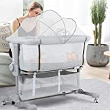 beiens 3-in-1 Baby Bassinet, Baby Crib Bedside Sleeper with Detachable Mosquito Net, 6 Height Adjustable Easy Folding Bassinet Portable Nursery Bed for Infant, Newborn, Baby Boys & Girls
