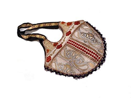 India Colors. Bolso hindú de diseño único (no hay 2 iguales). Artesanal. Hecho a mano en India. Telas bordadas con dorados e incrustaciones. Primera calidad. (Blanco)