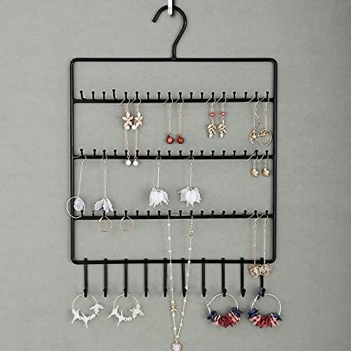 Sostenedor de joyería de 3 niveles de metal, organizador de joyas, colgador de pared para pendientes, pendientes, collares, brazaletes, anillos y relojes y pulseras